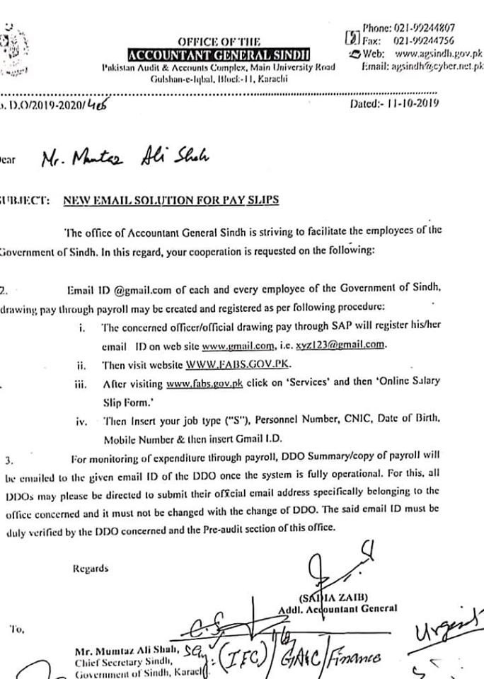 Email Registration for PaySlip for Sindh Employees