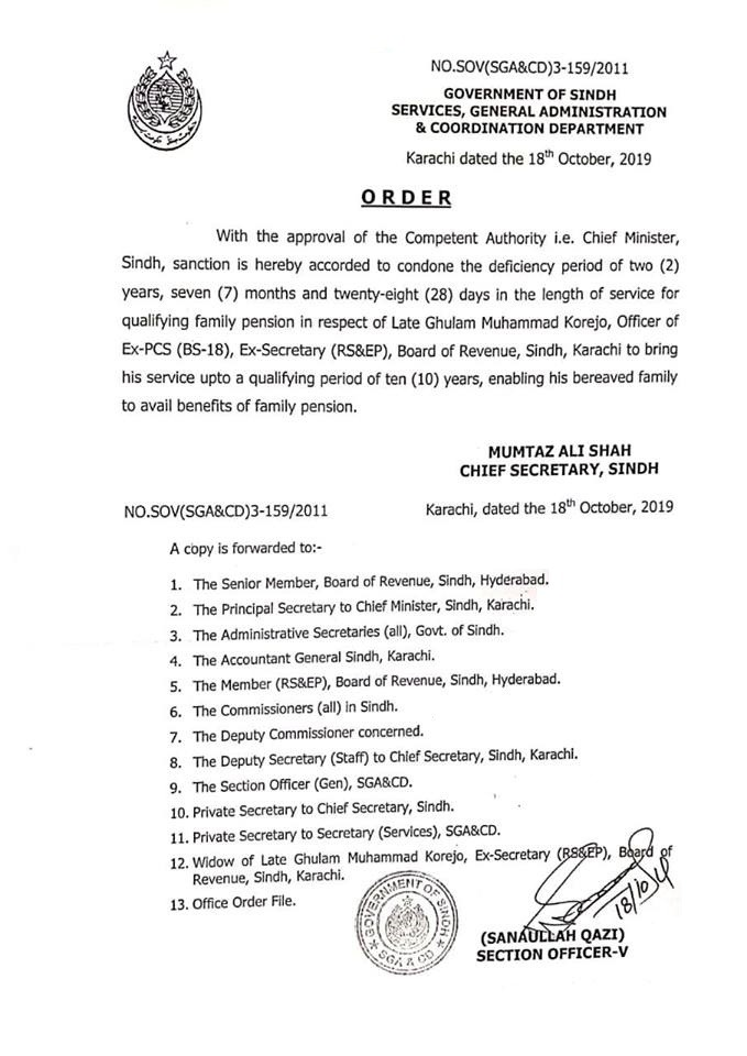 Family Pension New Rules in Sindh Pakistan
