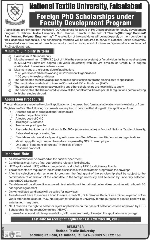 Foreign PhD Scholarships for NTU Faisalabad Students