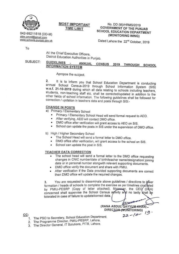Guidelines regarding Annual School Census 2019 SIS Punjab