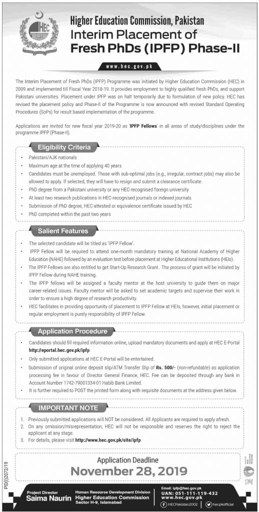 HEC Interim Placement of Fresh PhDs (IPFP) Phase-II