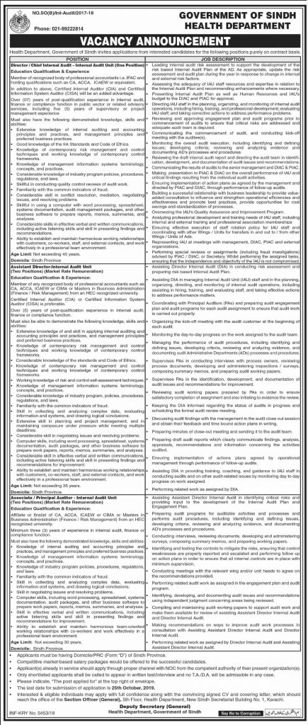 Health Department Government of Sindh Job Advertisement 2019
