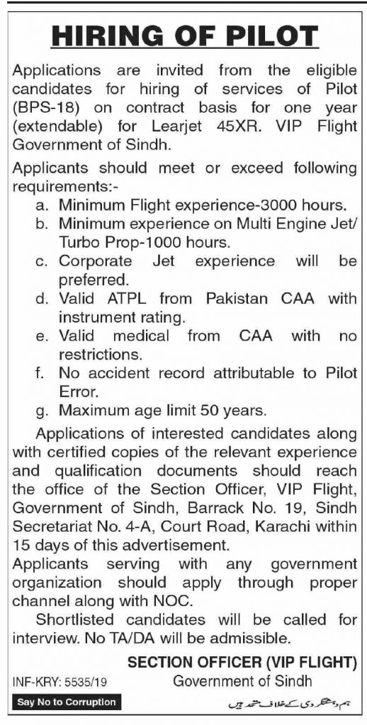 Hiring of Pilot with 3000 hours Experience