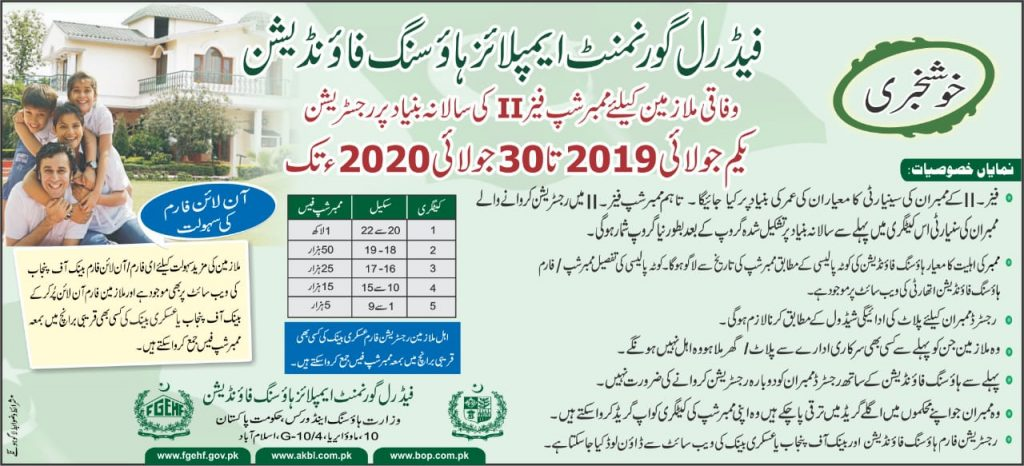 Housing Scheme for Federal Government Employees 2020