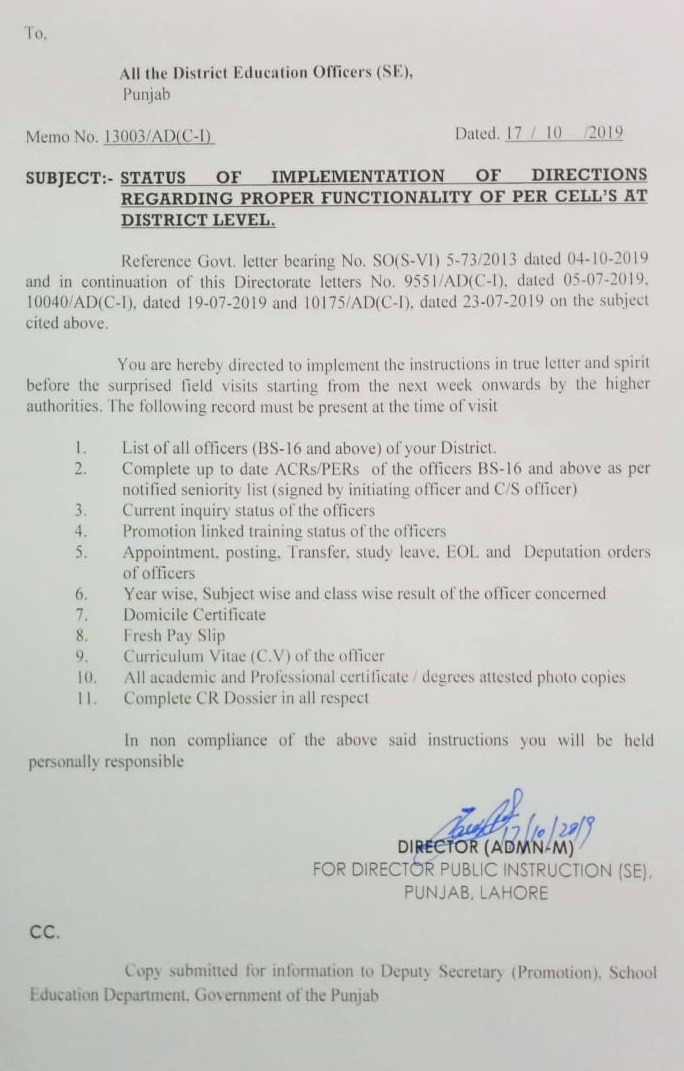 Implementation of Directives Regarding Functionality of PER Cell at District level