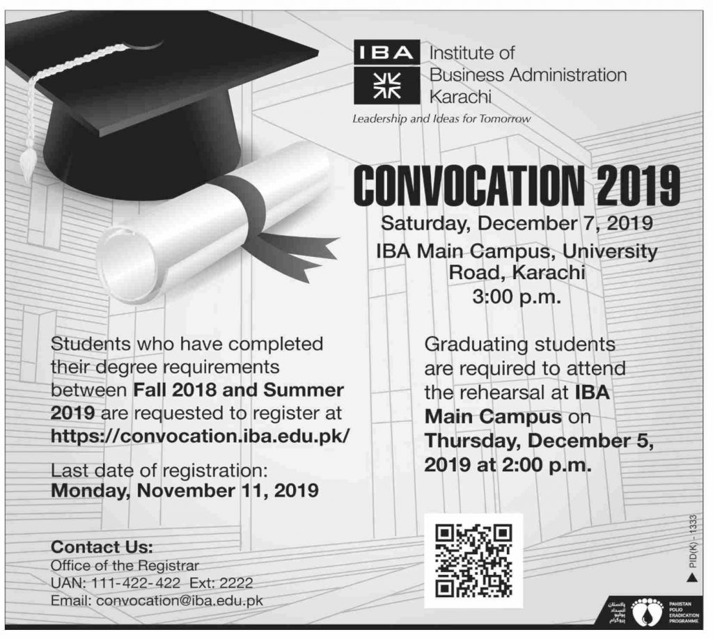 Institute of Business Administration (IBA) Karachi Convocation 2019