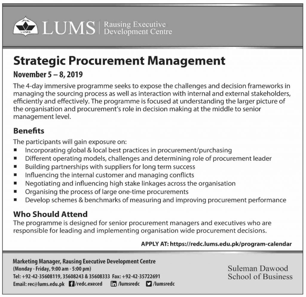 LUMS Strategic Procurement Management Program 2019