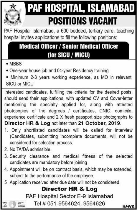 Medical Officer Jobs in PAF Hospital Islamabad 2019 Latest