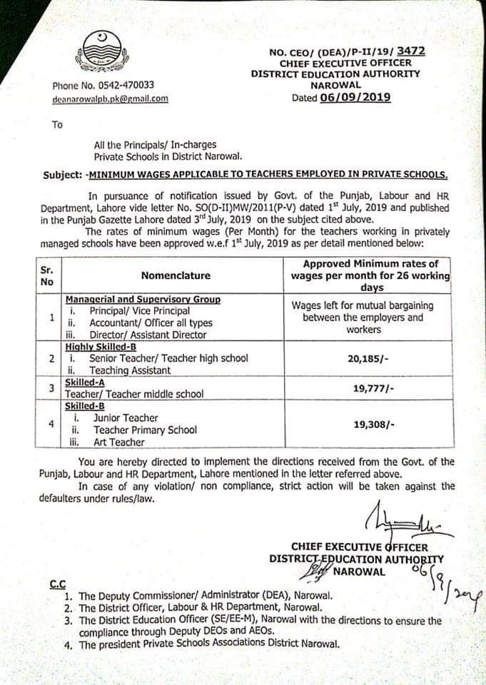 Minimum Wages Applicable to Teachers Employed in Private Schools