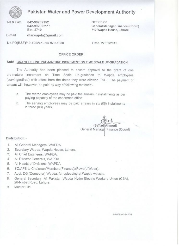 Notification of Premature Increment on Time Scale Upgradation WAPDA