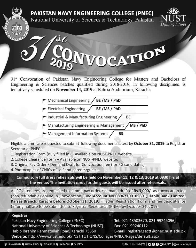 Pakistan Navy Engineering College (PNEC) Convocation 31st 2019