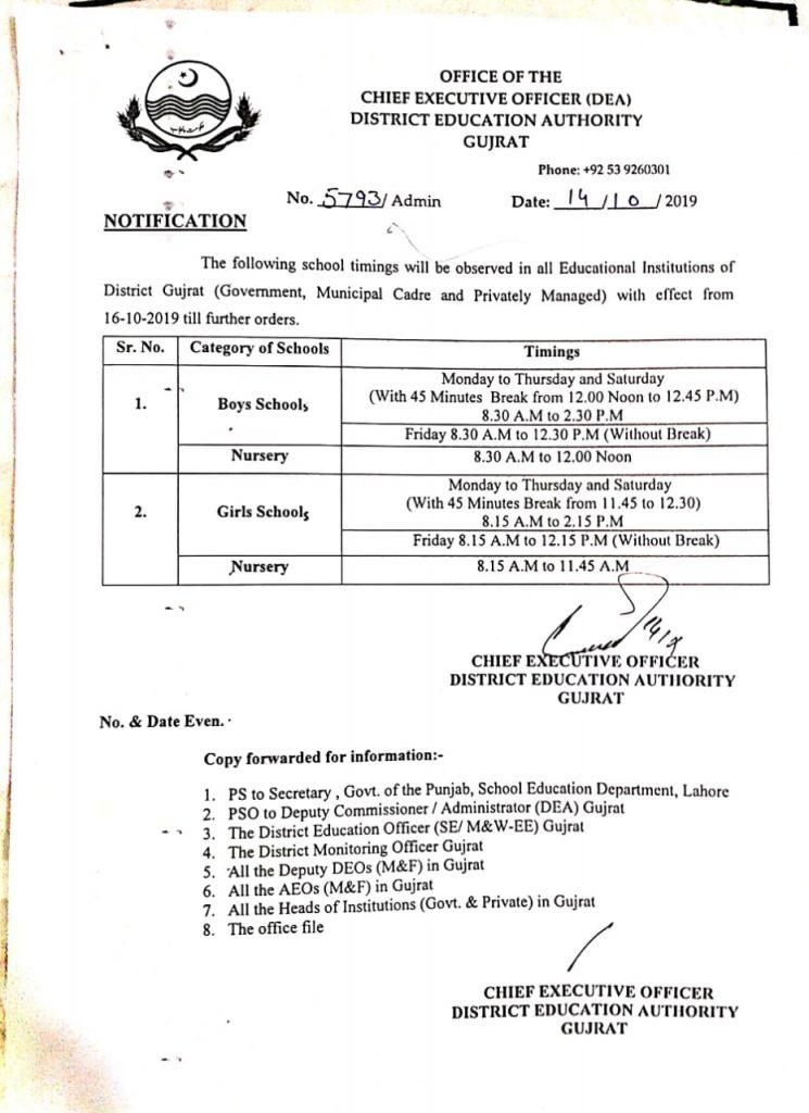 School Timing Winter Notification Gujrat 2019
