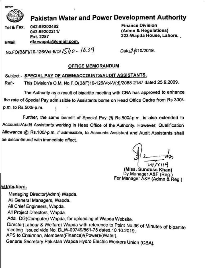 Special Pay of AdminAccountsAudit Assistants