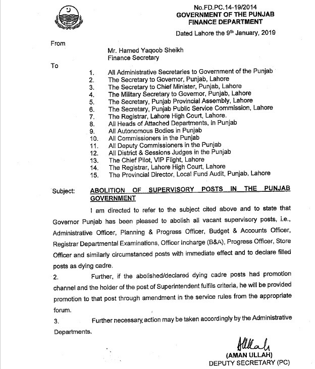 Supervisory Posts Abolition in Punjab Govt
