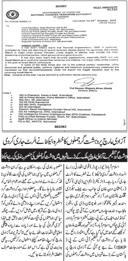 Threat Alert during Upcoming JUI Azadi March