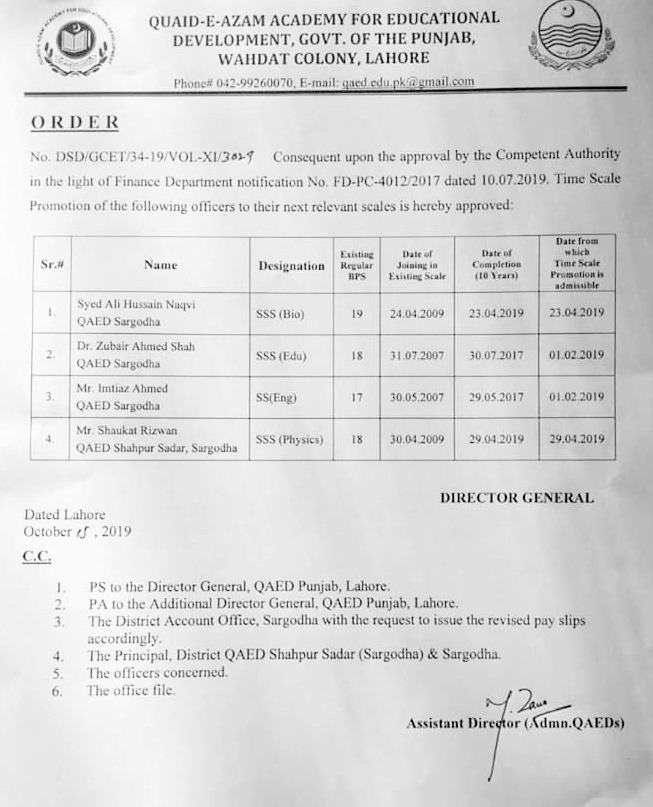 Time Scale Promotion of SS & SSS Teachers QAED Punjab Lahore