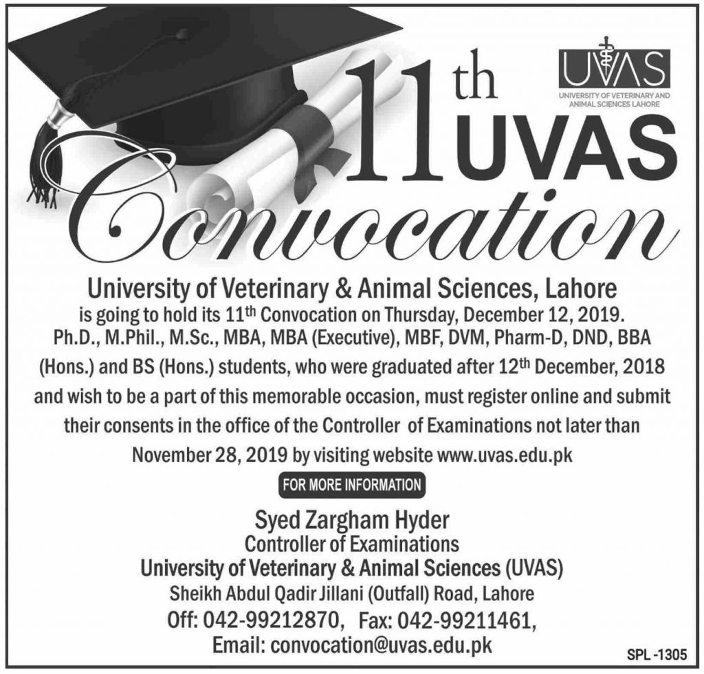 University of Veterinary and Animal Sciences (UVAS) Lahore Convocation 2019