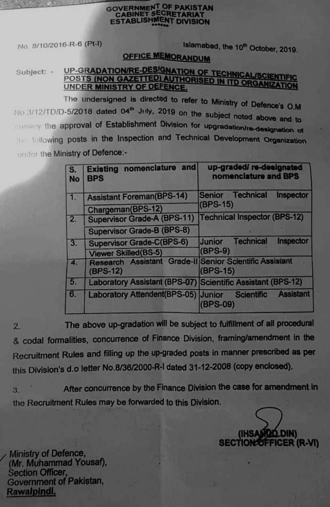 Upgradation / Re-Designation of Technical / Scientific Posts in ITD Department