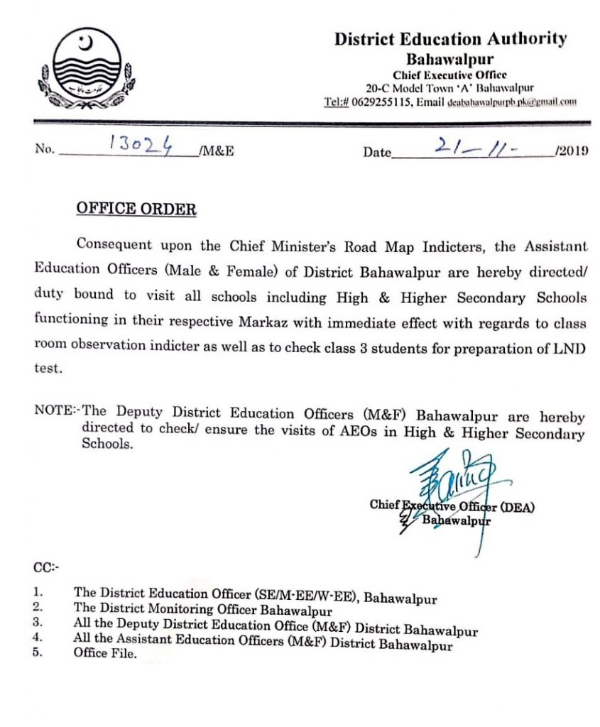 AEOs Responsibilities of Visit Higher Secondary Schools in Markaz