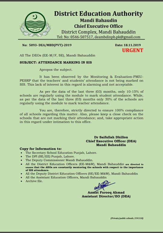 Attendance Marking on SIS Punjab