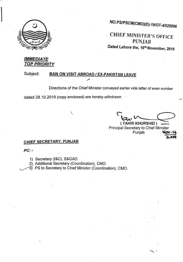 Ban Lifted on Ex Pakistan Leave - Notification