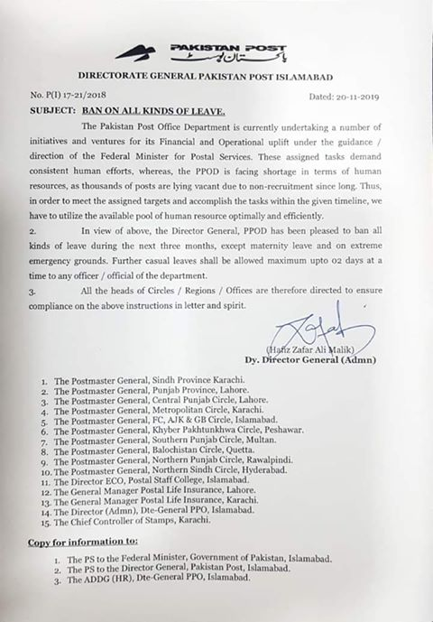 Ban on Leaves Except Casual Leave for Two Days Pakistan Post