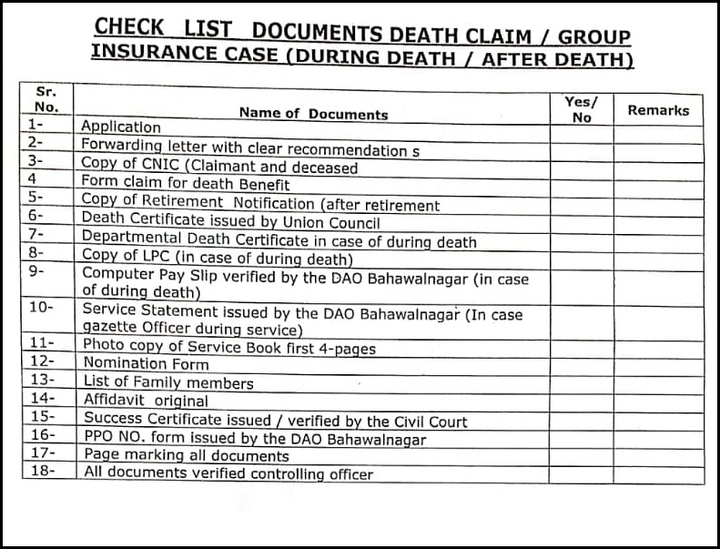 Check List of Documents Required for Death Claim
