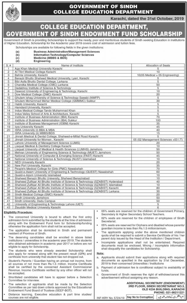 College Education Department Sindh Govt Endowment Fund Scholarship 2019