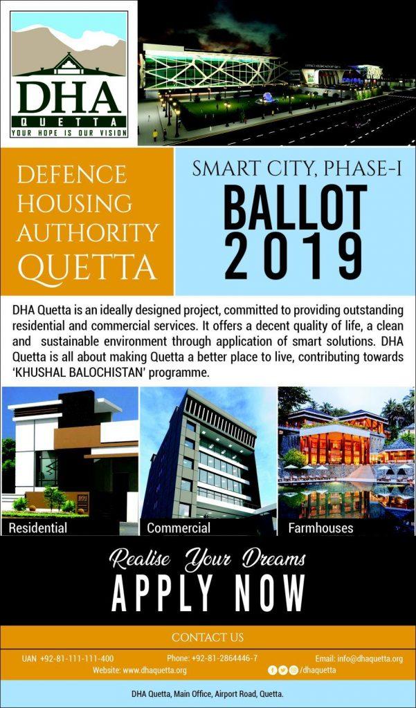 DHA Quetta Smart City Phase-I Ballot 2019