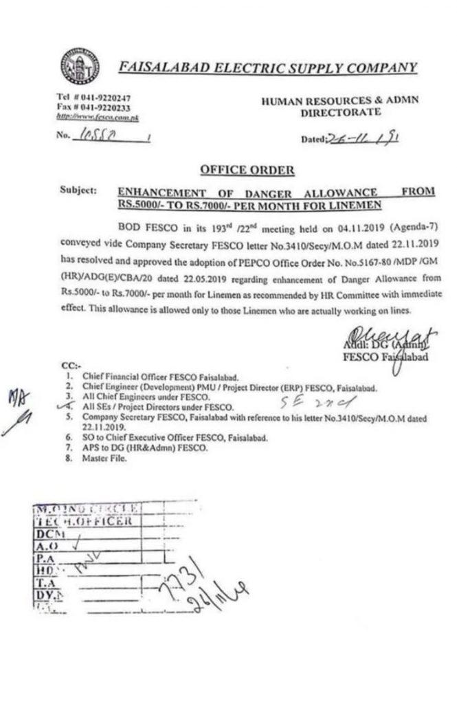 Danger Allowance Increased Rs. 7000 To FESCO WAPDA