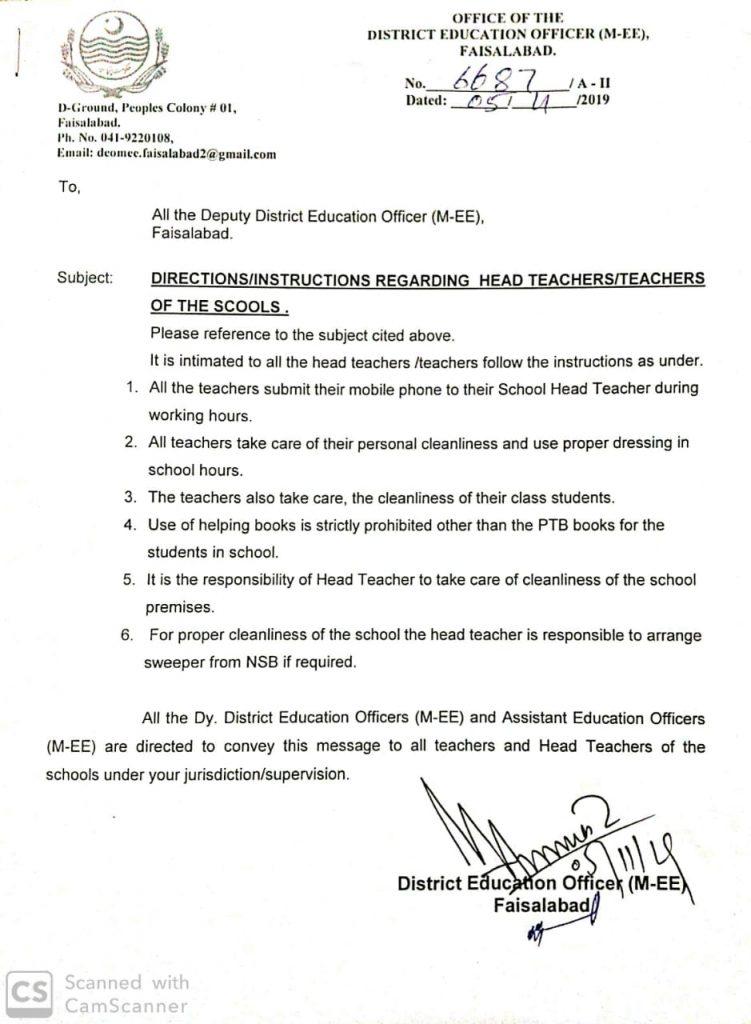 DirectionsInstructions regarding Head Teachers & Teachers of Schools