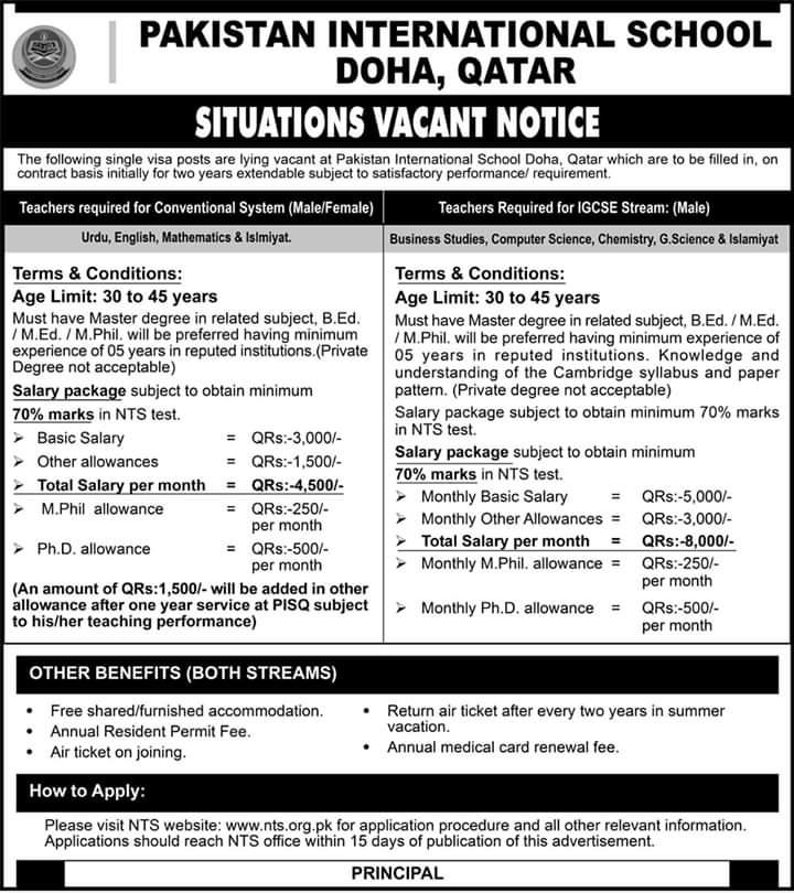 Doha Qatar Pakistani Schools Jobs  Criteria  How To Apply