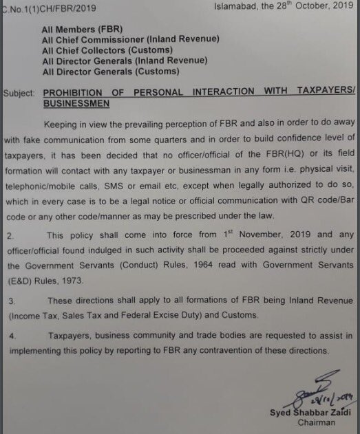 FBR Notification of Personal Interaction with Taxpayers  Businessman