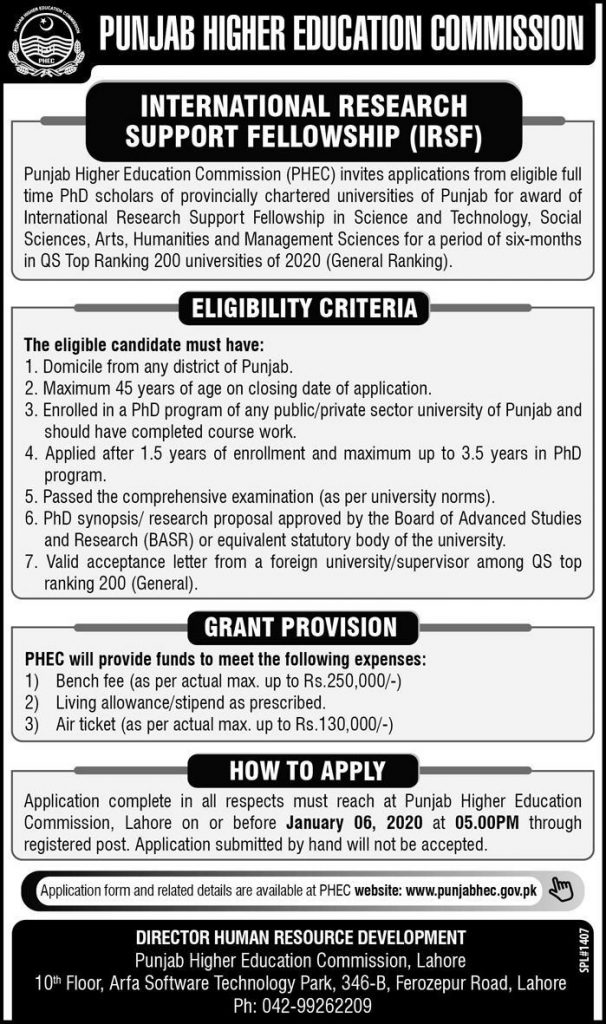 HEC International Research Support Fellowship IRSF 2020