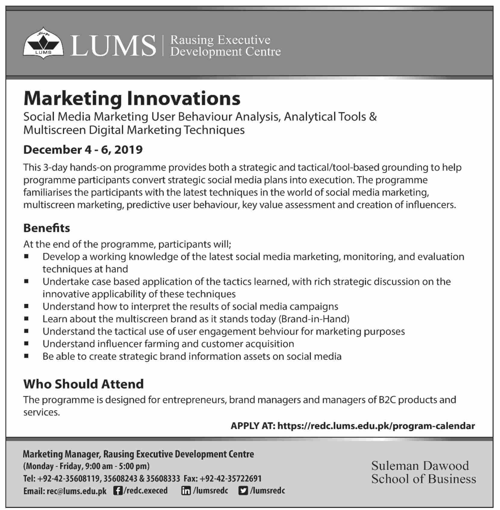 teacher evaluation form lums  LUMS Marketing Innovations 7-Day Hands-On Program 7 ...