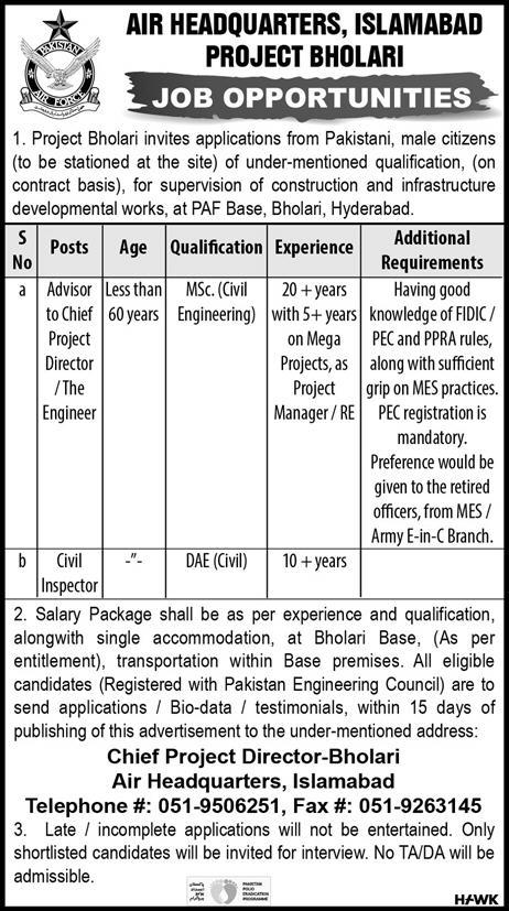 Latest Air Headquarters Islamabad Jobs Advisor to Chief Project Director 17 November 2019 Advertisement