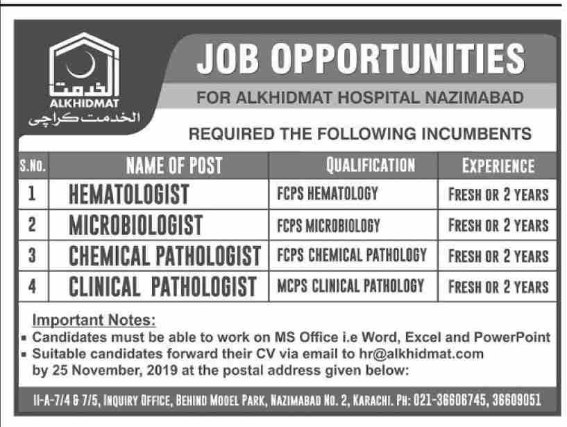 Latest Al Khidmat Hospital Nazimabad Jobs Hematologist Microbiologist Pathologist 17 November 2019 Advertisement