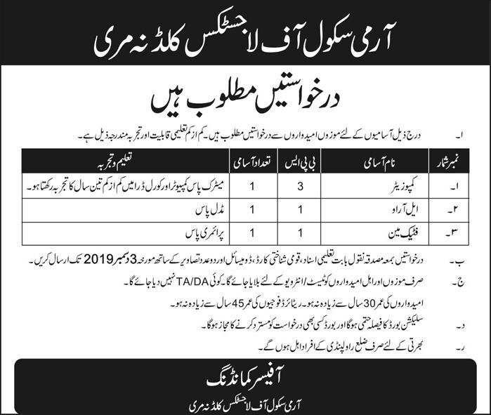 Latest Army School of Logistics Kuldana Murree Jobs Compositor LRO Fatigue-Man 17 November 2019 Advertisement