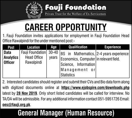 Latest Fauji Foundation Jobs Data Analytics Officer 17 November 2019 Advertisement