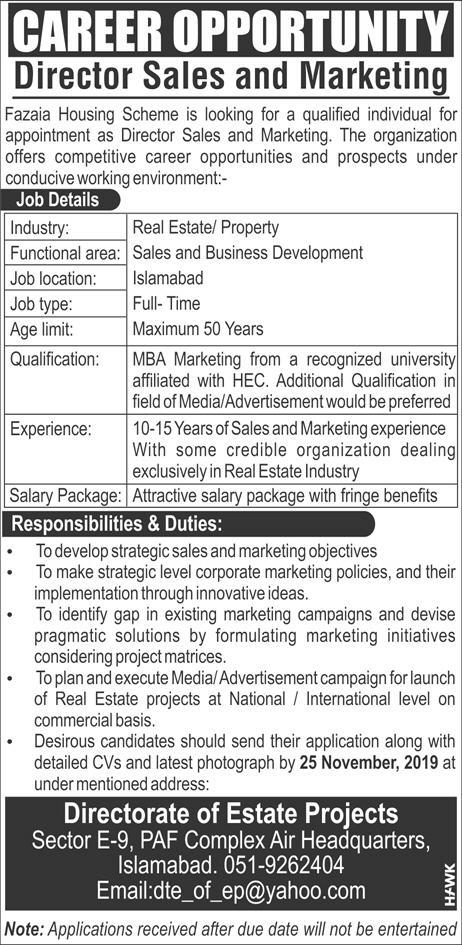 Latest Fazaia Housing Scheme PAF Jobs Director Sales & Marketing 17 November 2019 Advertisement
