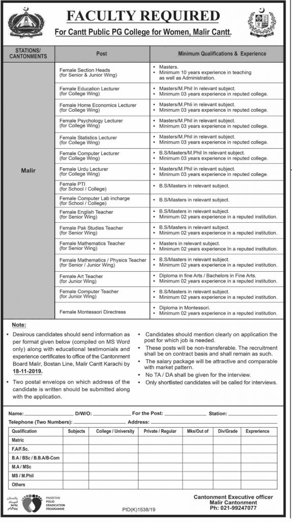Latest Jobs Malir Cantt College Karachi 1 November, 2019