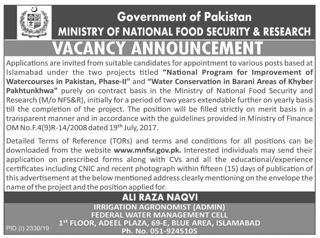 Latest Jobs Ministry of National Food Security & Research Islamabad 1 November, 2019