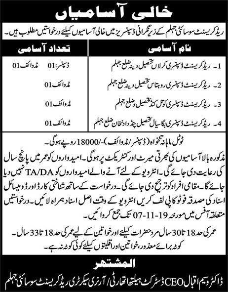 Latest Jobs Pakistan Red Crescent Society Jhelum 1 November, 2019