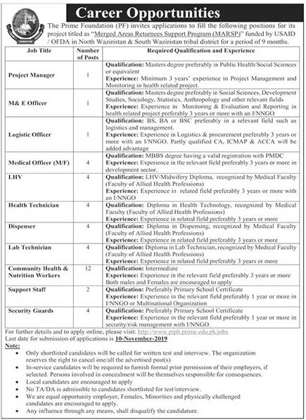 Latest Jobs Prime Foundation Waziristan 2 November 2019