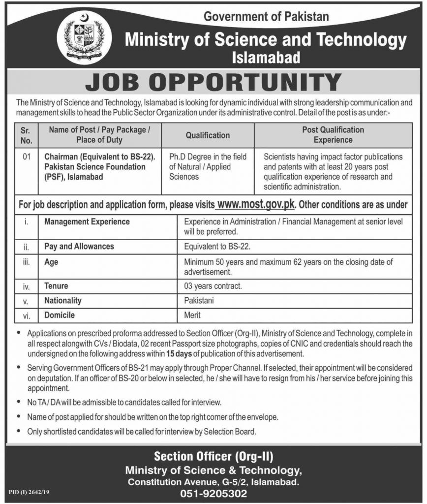 Latest Ministry of Science and Technology Jobs Chairman PSF 17 November 2019 Advertisement