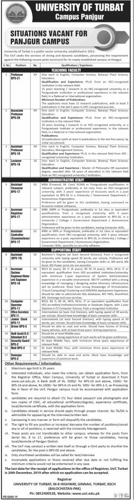 Latest University of Turbat Jobs Teaching Administrative Supporting Staff 17 November 2019 Advertisement