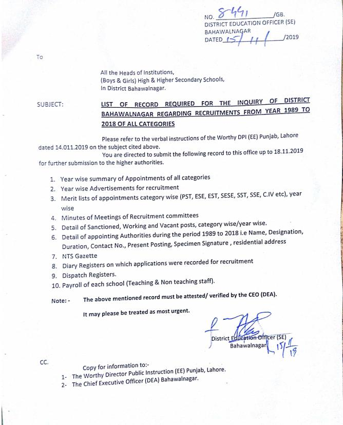 List of Record for Inquiry District Bahawalnagar regarding Recruitment