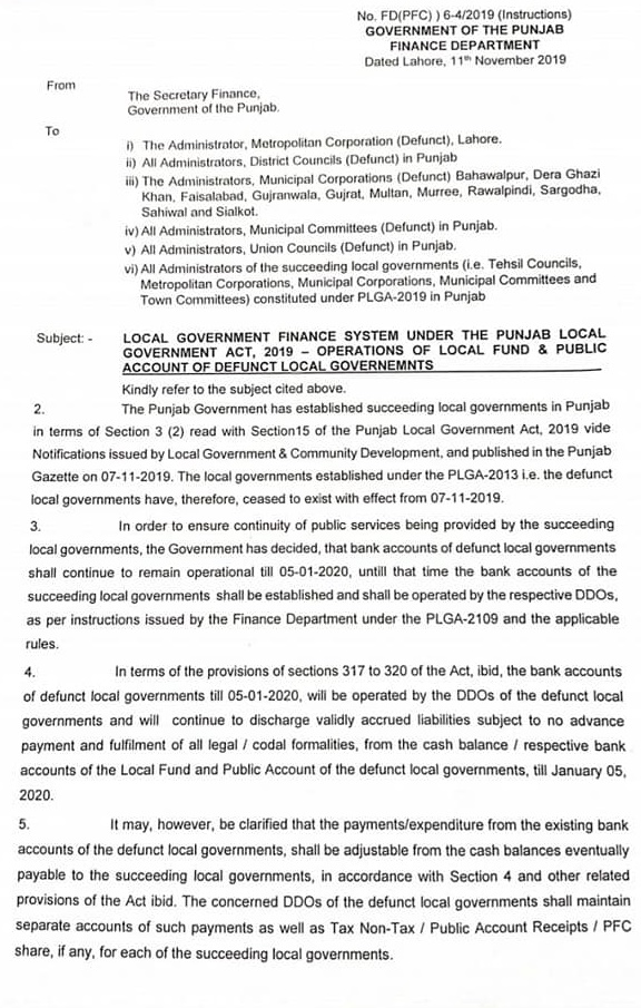 Local Government Finance System under Punjab Local Government Act 2019