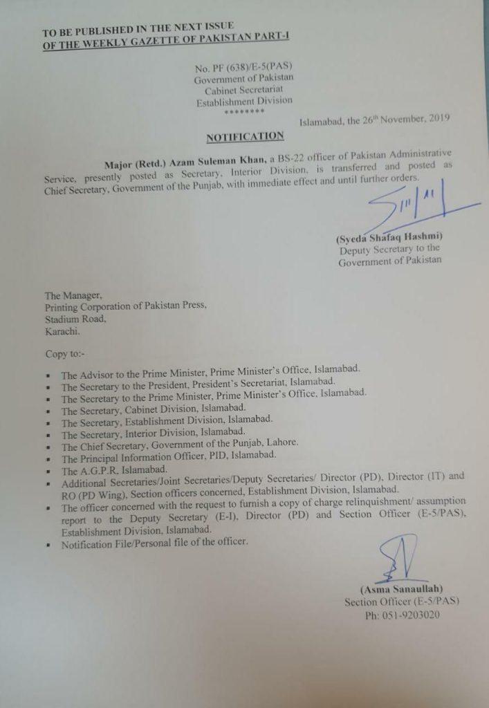 Major (R) Azam Suleman Khan Appointed New Chief Secretary Punjab Govt