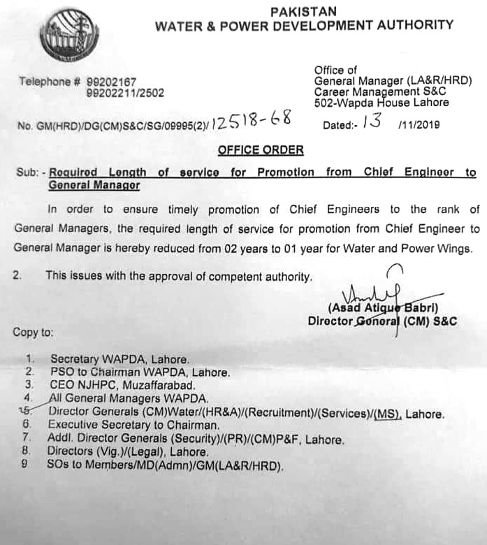 Minimum Length of Service for Promotion Chief Engineer/General Manager WAPDA